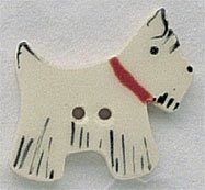 86220 - White Scottie Facing Right 1/2in x 1in - 1 per pkg